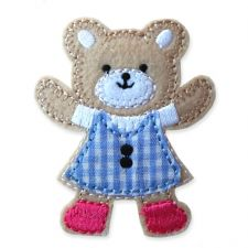 BLUE GINGHAM TEDDY MOTIF IRON ON EMBROIDERED PATCH APPLIQUE